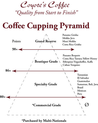 Coffee pyramid for grading coffee